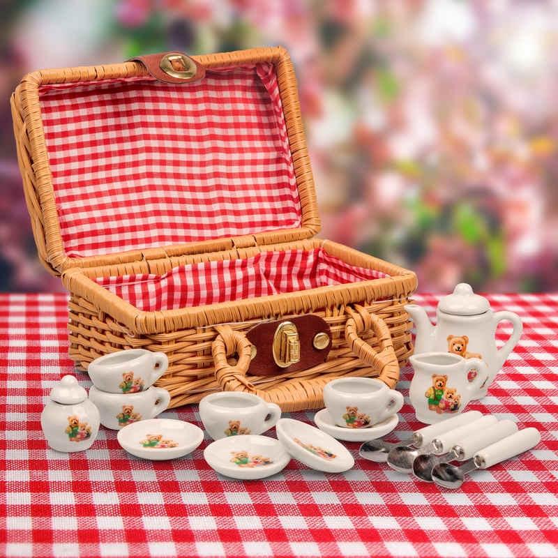 Mini service à thé famille ours en étain
