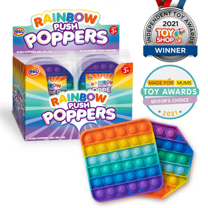 Rainbow Push Poppers Toy Assorted