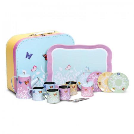 Service à thé papillon en étain