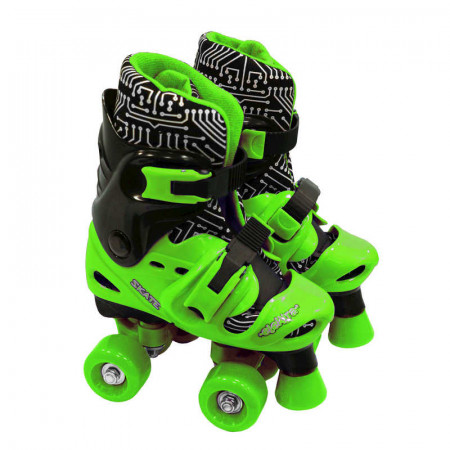 Elektra Quad Boot Adjustable Medium Black & Green 13J-2 - Skates