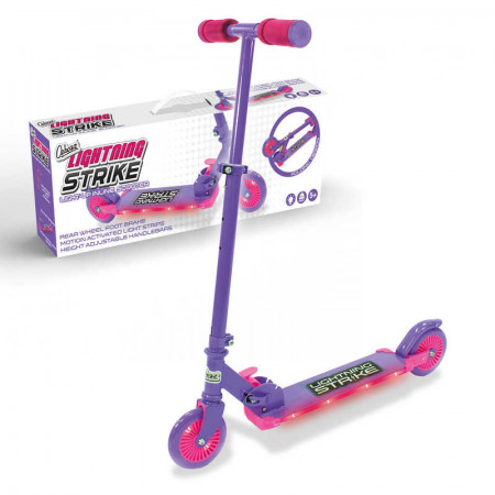 Lightning Strike Scooter With Step On Function Pink & Purple